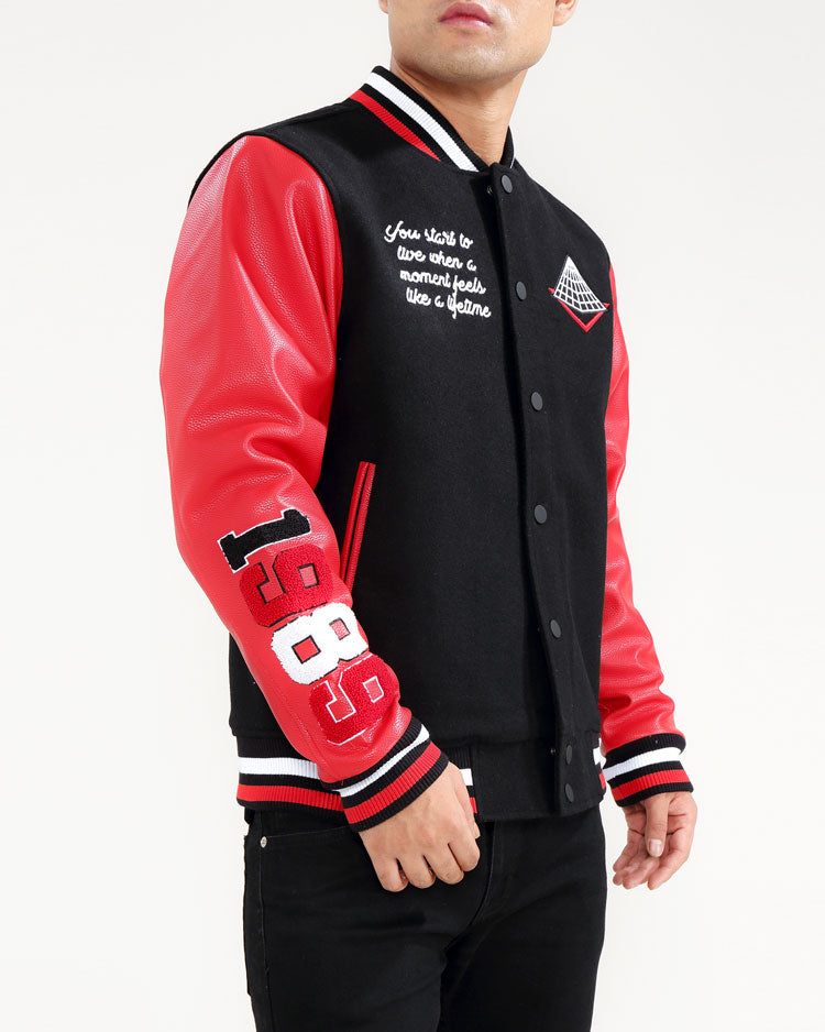 Core Logo Varsity Jacket-COLOR: RED