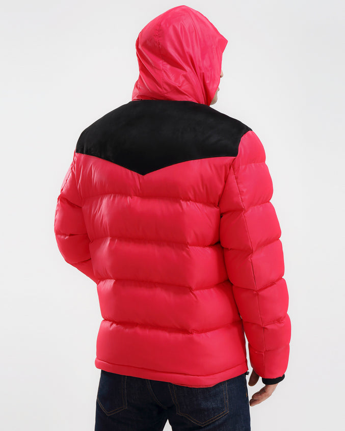 Chevron Down Jacket-COLOR: RED