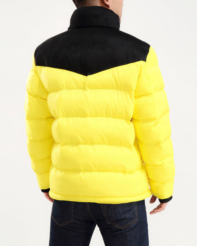 Chevron Down Jacket-COLOR: YELLOW