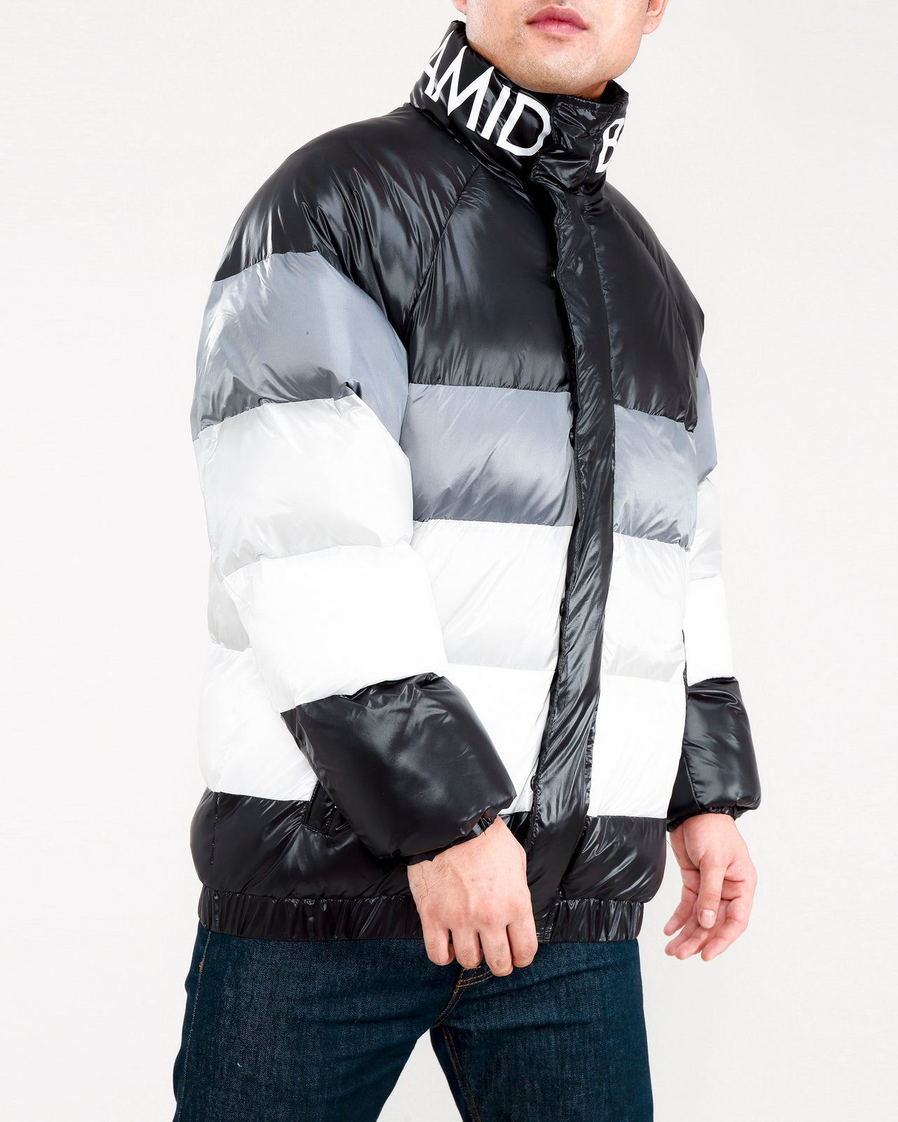 Blocked Channel Puffer-COLOR: BLACK