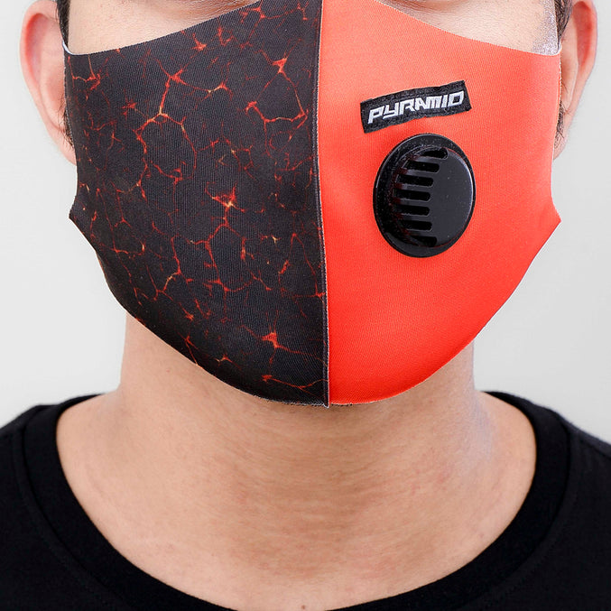 CRACKED LAVA FACEMASK-COLOR: ORANGE