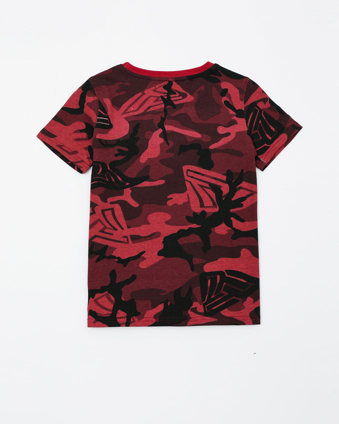 Camo Pyramid Kids Tee - Color: Red
