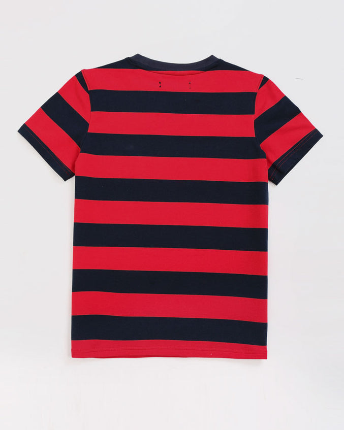 KIDS GAME STRIPE SHIRT-COLOR: RED