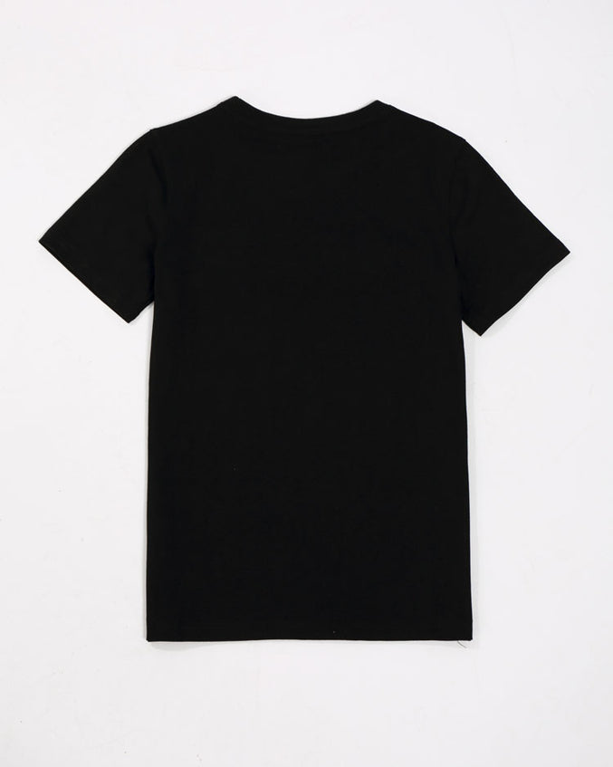 KIDS COLLAGE TYPE SHIRT-COLOR: BLACK