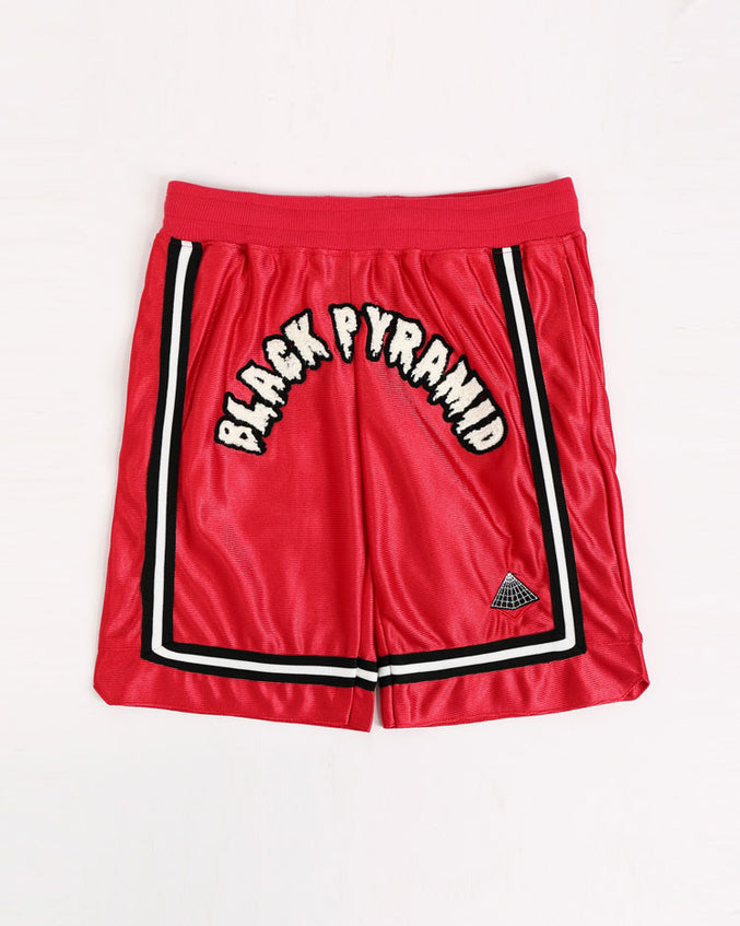 KIDS ARCHED DRIP B BALL SHORTS-COLOR: RED