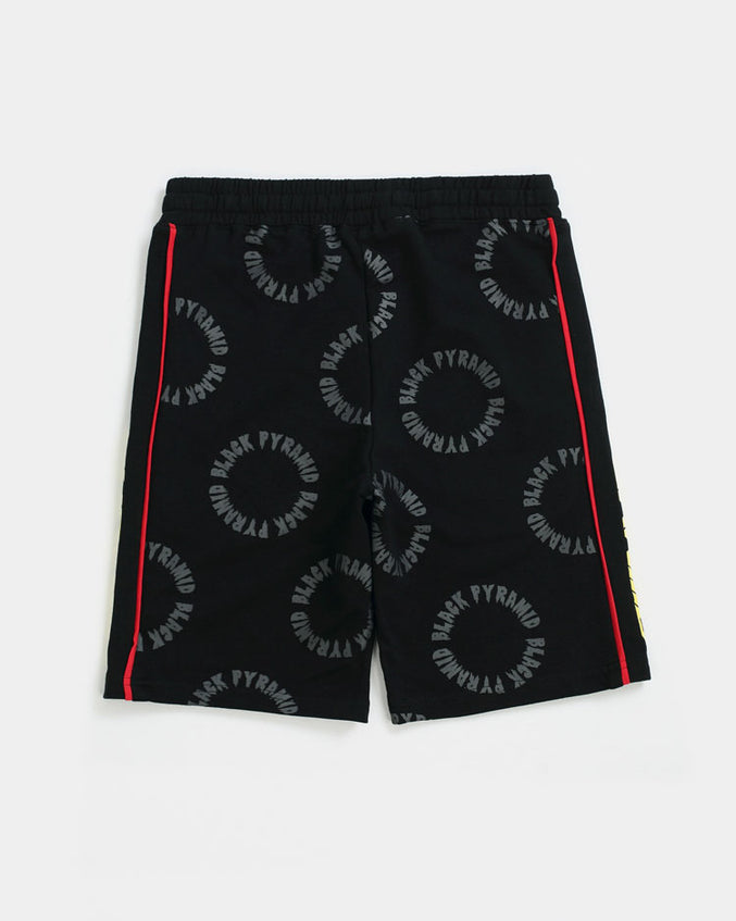 KID Circle Drip Monogram shorts-COLOR: BLACK