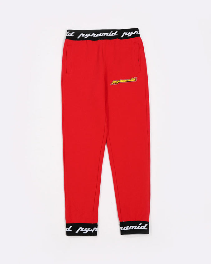 KIDS CORE 3D RUBBER PATCH PANTS-COLOR: RED