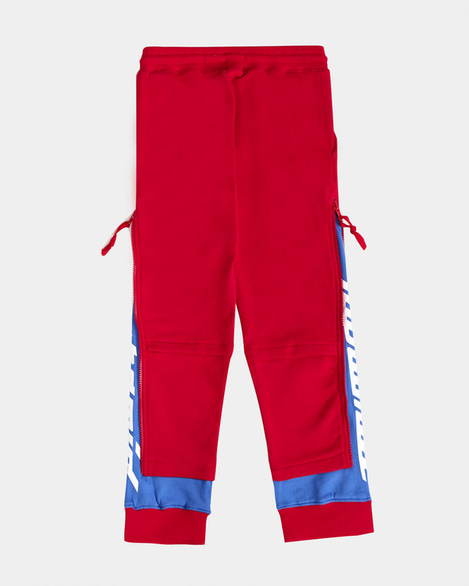 KIDS LAYERED ZIP PANTS-COLOR: RED