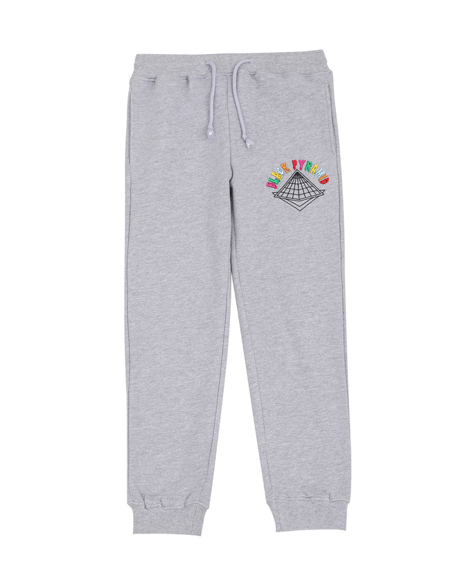 KIDS COLORS DRIP LOGO PANTS-COLOR: HEATHER GRAY