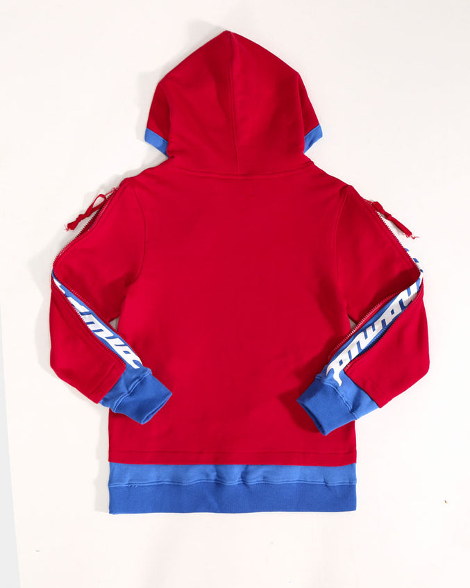 KIDS LAYERED ZIP HOODY-COLOR: RED