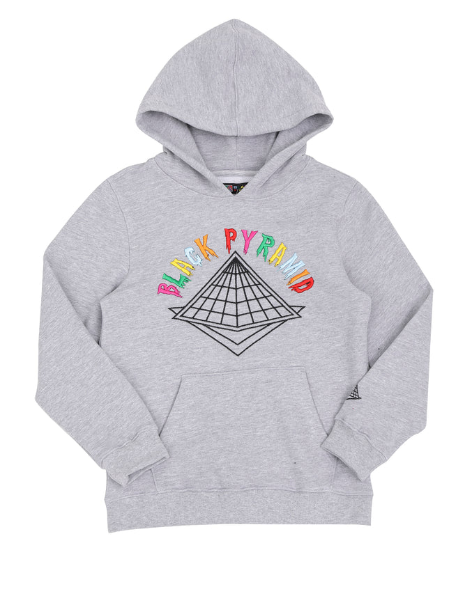 KIDS COLORS DRIP LOGO HOODY-COLOR: HEATHER GRAY