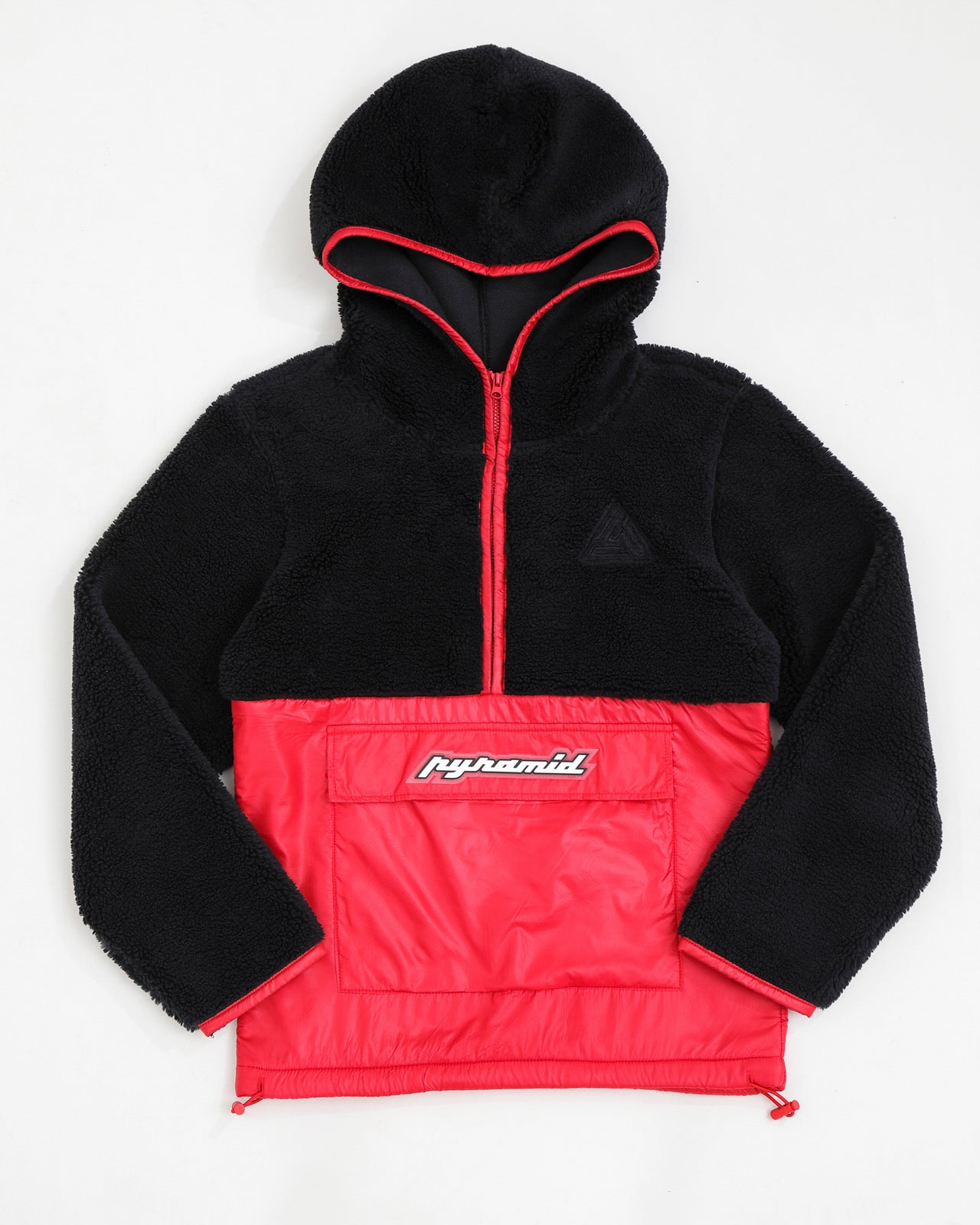 Kids Pull Over Mixed Nylon Hoody-COLOR: RED