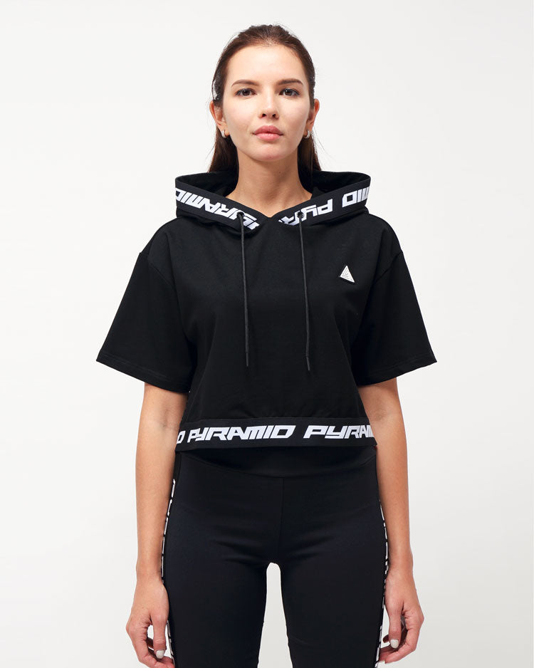 WOMENS LOGO TAPE HOODIE TOP-COLOR: BLACK