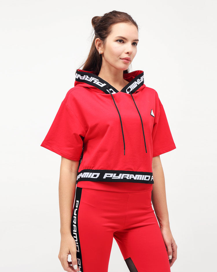 WOMENS LOGO TAPE HOODIE TOP-COLOR: RED