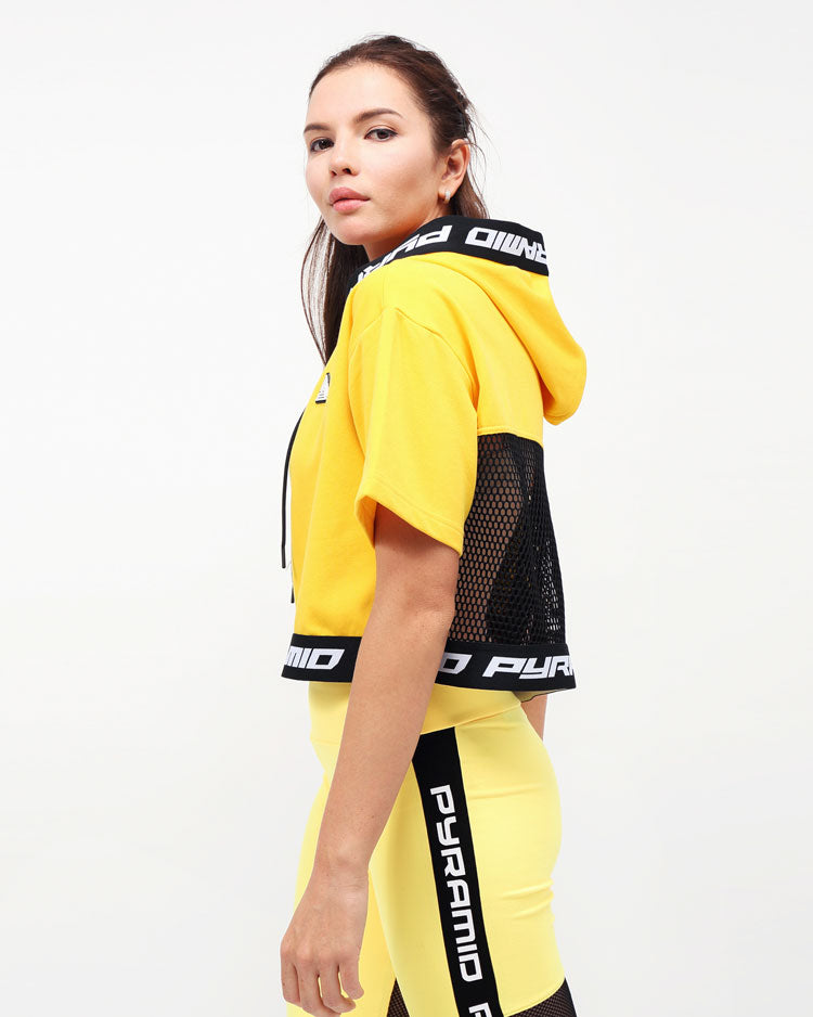 WOMENS LOGO TAPE HOODIE TOP-COLOR: YELLOW