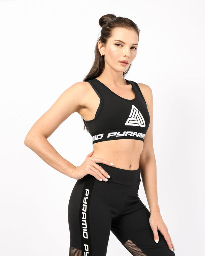 WOMENS LOGO TAPE SPORTS BRA-COLOR: BLACK