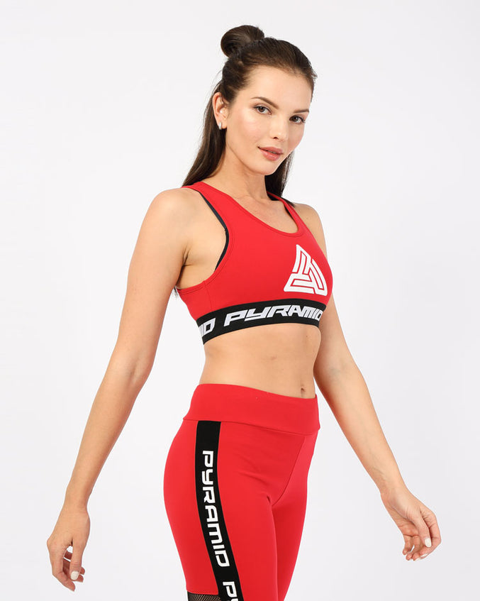WOMENS LOGO TAPE SPORTS BRA-COLOR: RED