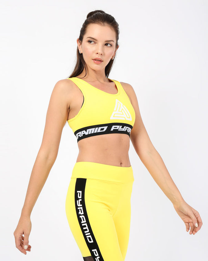 WOMENS LOGO TAPE SPORTS BRA-COLOR: YELLOW