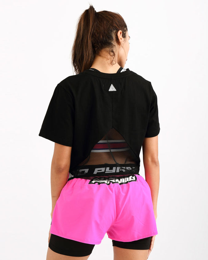 WOMENS STONED EYES GITD LOGO CROP TEE-COLOR: BLACK