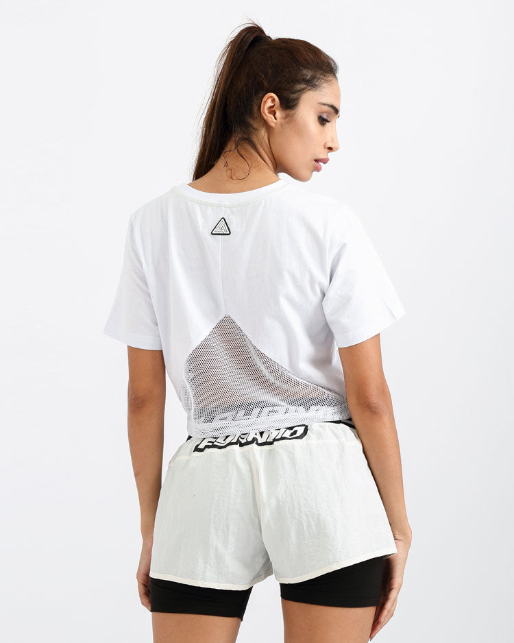 WOMENS STONED EYES GITD LOGO CROP TEE-COLOR: WHITE