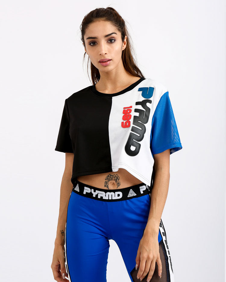 WOMENS PYRMD 1989 SPLIT CROP TOP-COLOR: BLUE