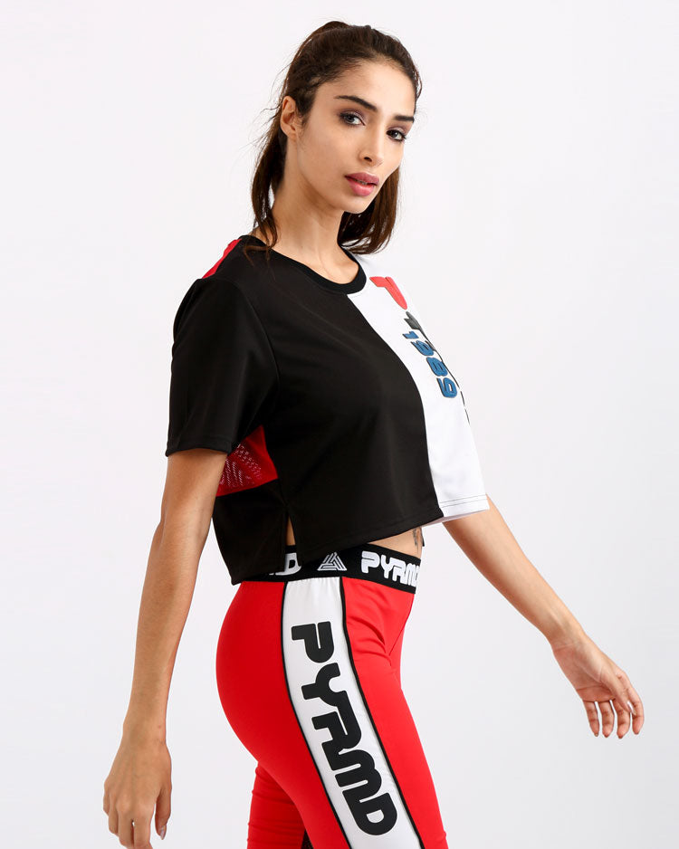 WOMENS PYRMD 1989 SPLIT CROP TOP-COLOR: RED