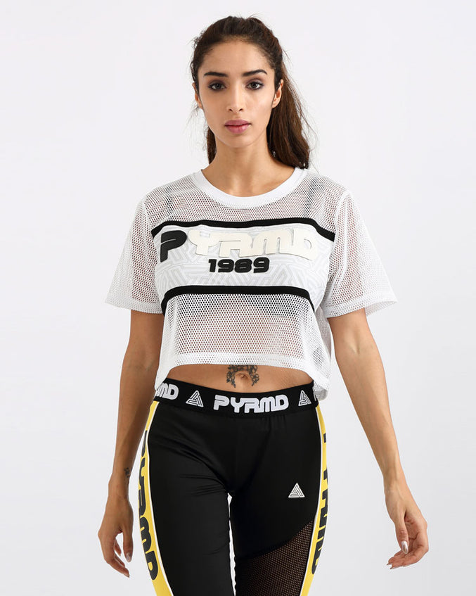 WOMENS PYRMD 1989 MESH CROP TOP-COLOR: WHITE