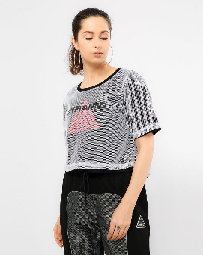 WOMENS REFLECTIVE DOUBLE MESH CROP TEE-COLOR: WHITE
