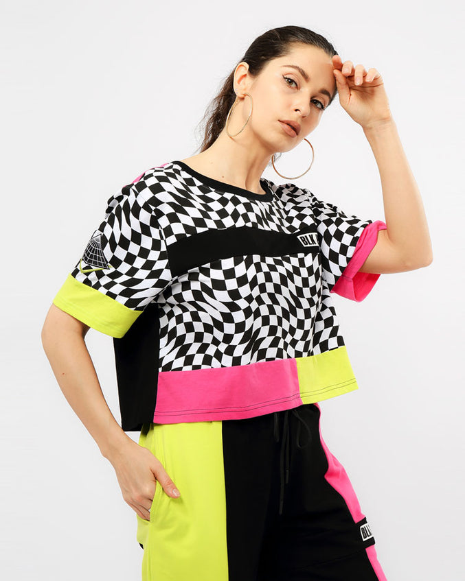 WOMENS OPTICAL CROP TOP-COLOR: WHITE