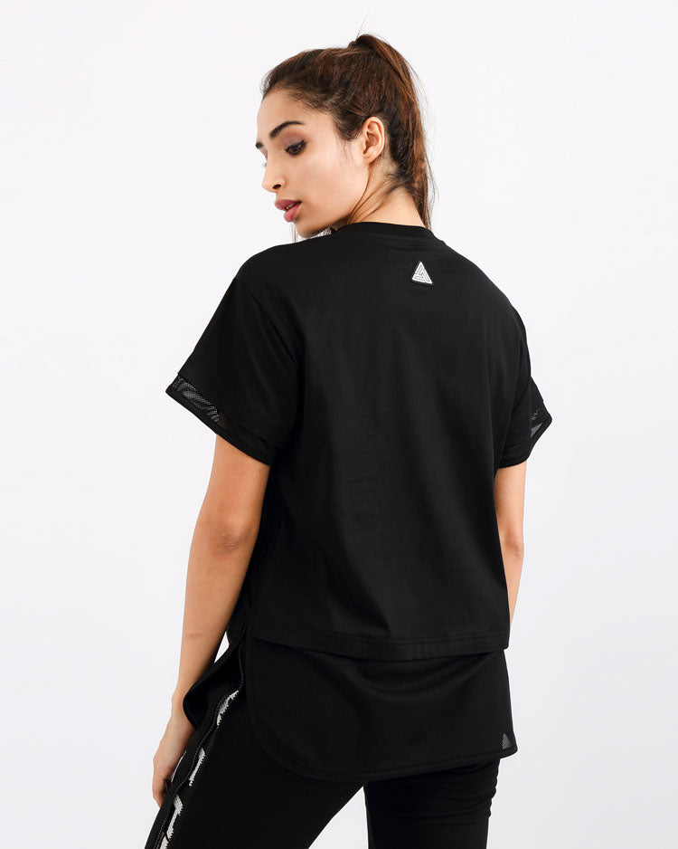 WOMENS MATRIX MIXED FABRIC TOP-COLOR: BLACK