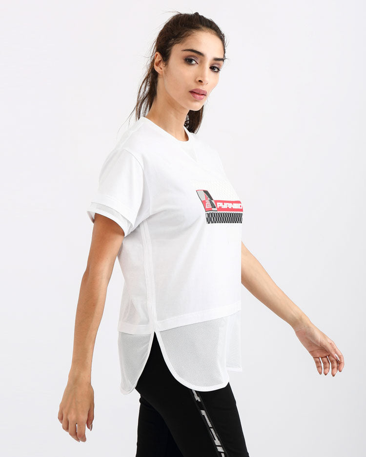 WOMENS MATRIX MIXED FABRIC TOP-COLOR: WHITE