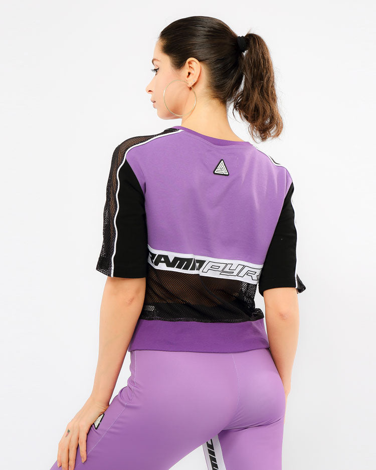 WOMENS MATRIX MIXED FABRIC TAPED TOP-COLOR: PURPLE