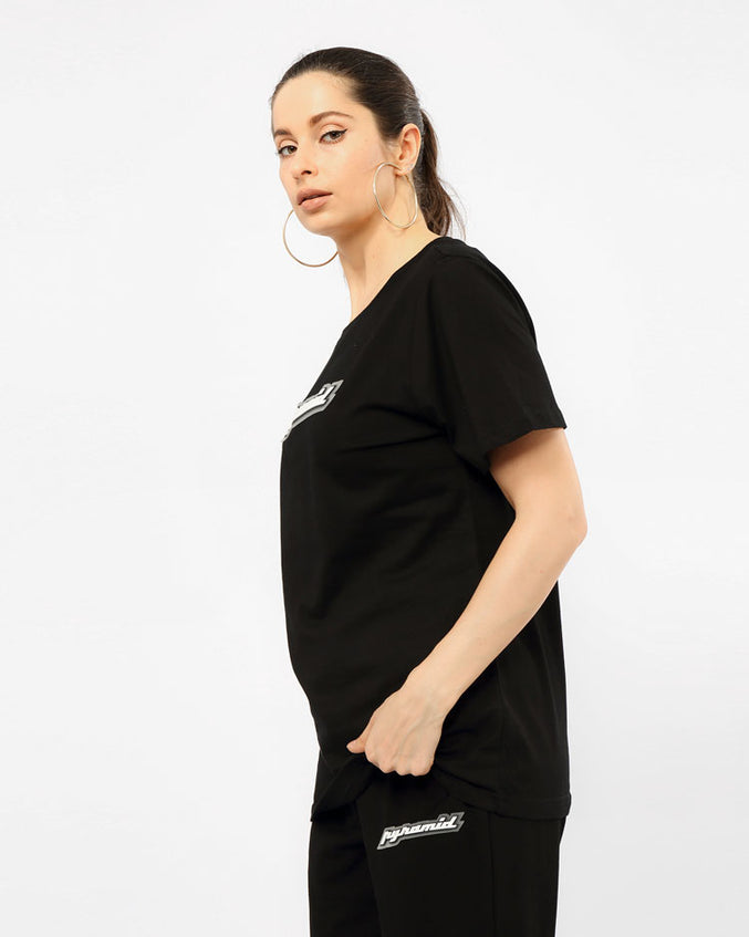 WOMEN CORE 3D RUBBER PATCHSHIRT-COLOR: BLACK