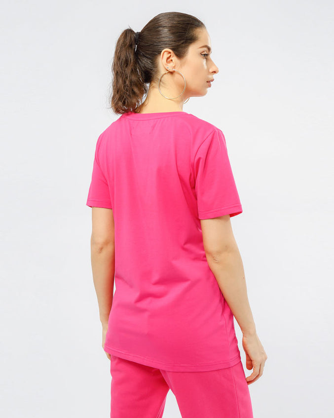 WOMEN CORE 3D RUBBER PATCHSHIRT-COLOR: PINK