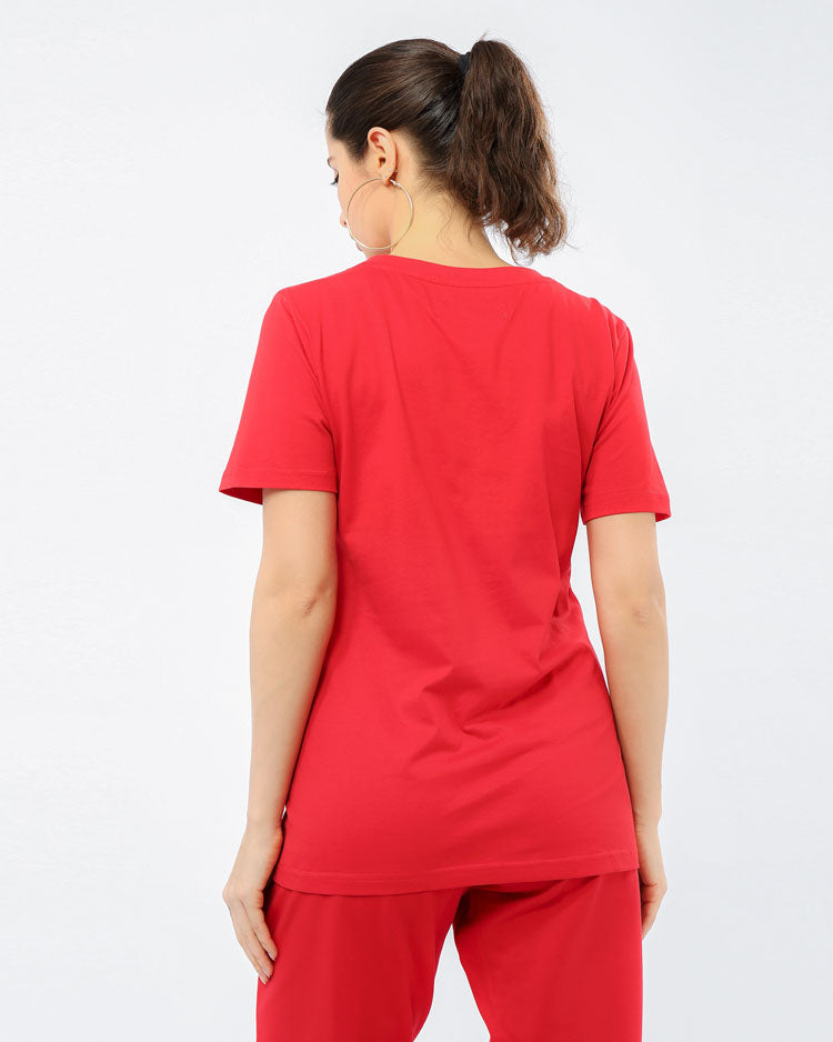 WOMEN CORE 3D RUBBER PATCHSHIRT-COLOR: RED