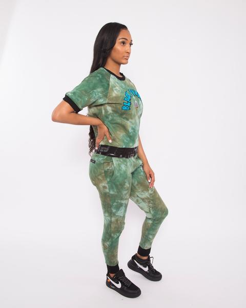 WOMEN TIE DYE DRIP JOGGER-COLOR: GREEN
