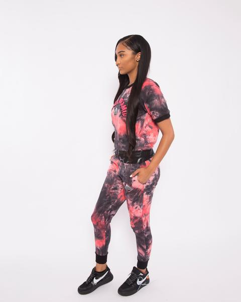 WOMEN TIE DYE DRIP JOGGER-COLOR: RED