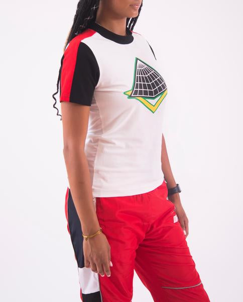 WOMEN RACEWAY MOCK SHIRT-COLOR: WHITE