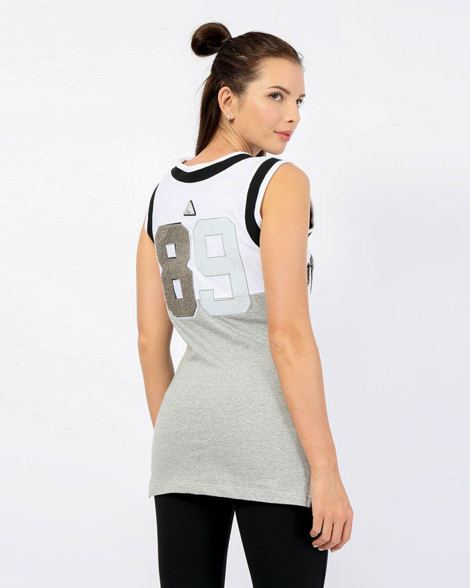 WOMENS VARCITY SPLIT BASKETBALL DRESS-COLOR: WHITE