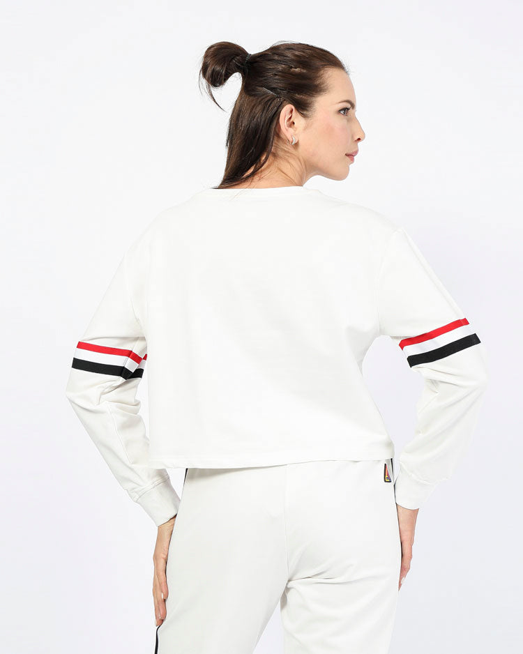 WOMANS FUTURE CLASSIC CROP CREW-COLOR: WHITE
