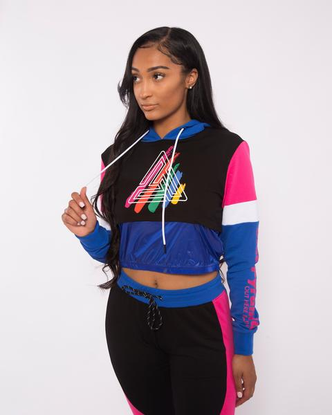 WOMEN PAINT STREAKS OHB MIX HOODY-COLOR: BLUE