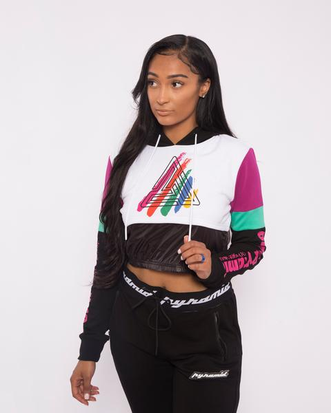 WOMEN PAINT STREAKS OHB MIX HOODY-COLOR: BLACK