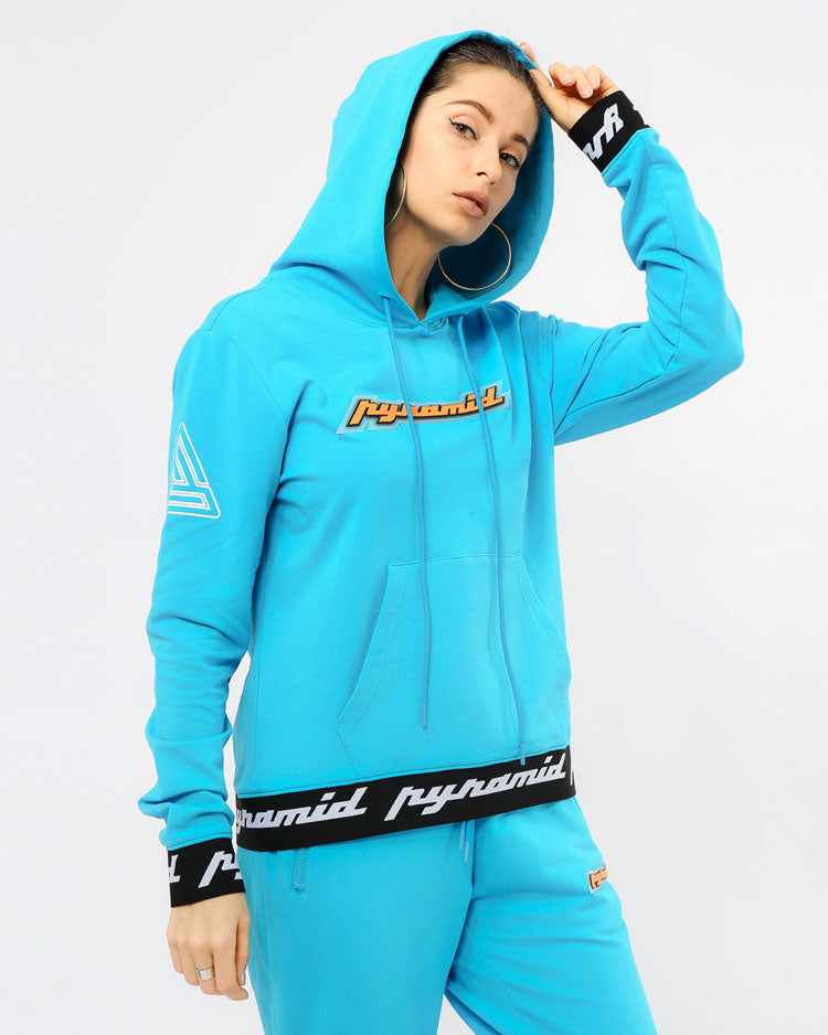 WOMEN CORE 3D RUBBER PATCH PULLOVER HODDY-COLOR: BLUE