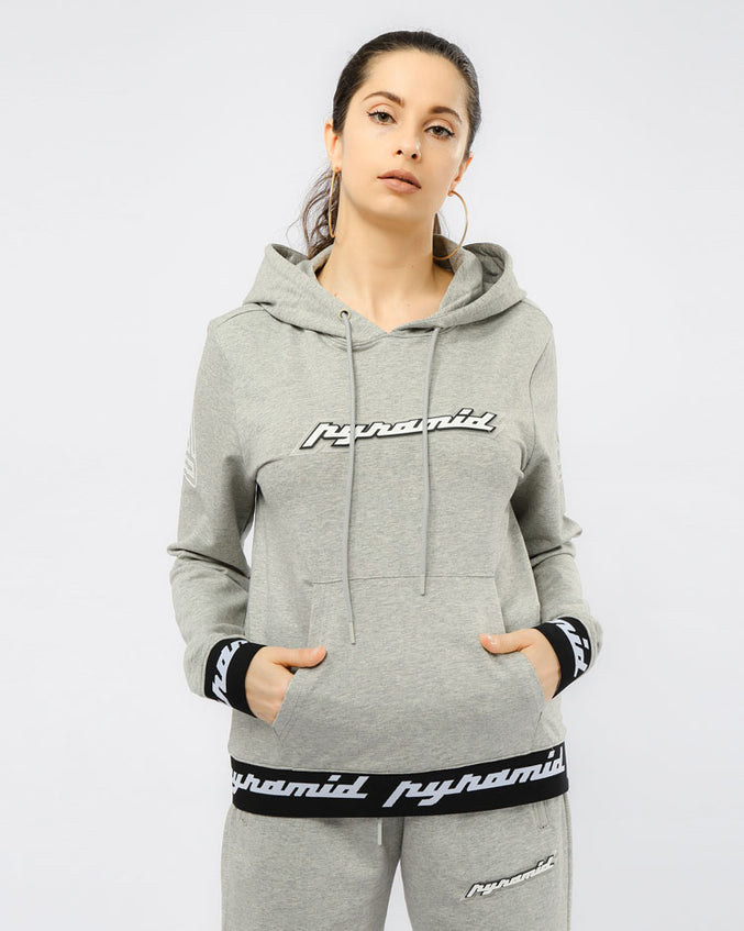 WOMEN CORE 3D RUBBER PATCH PULLOVER HODDY-COLOR: HEATHER GRAY