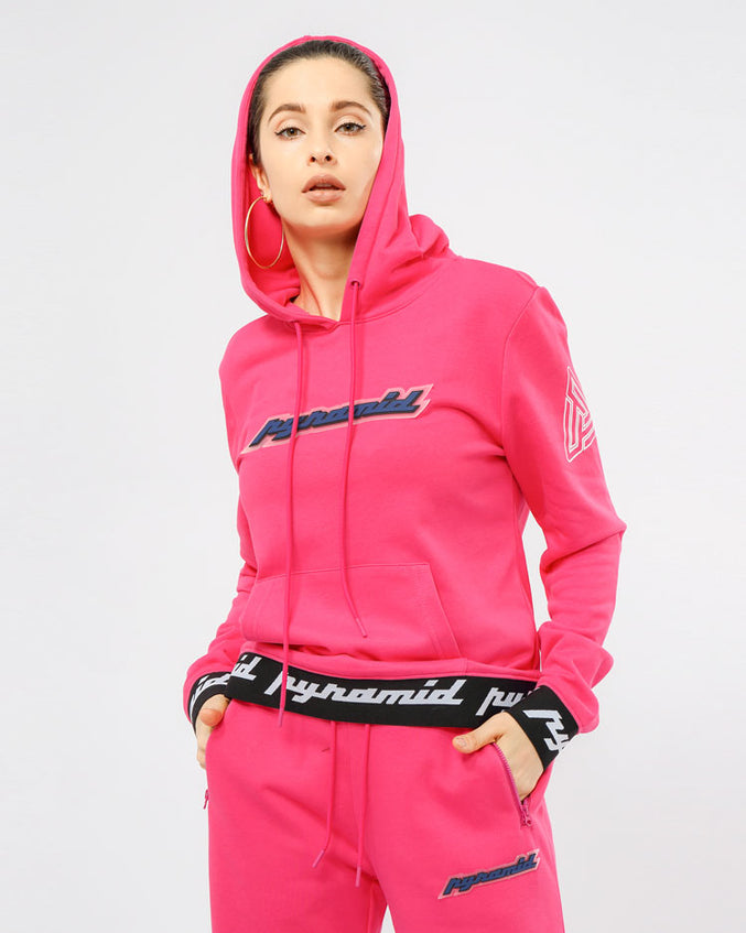 WOMEN CORE 3D RUBBER PATCH PULLOVER HODDY-COLOR: PINK