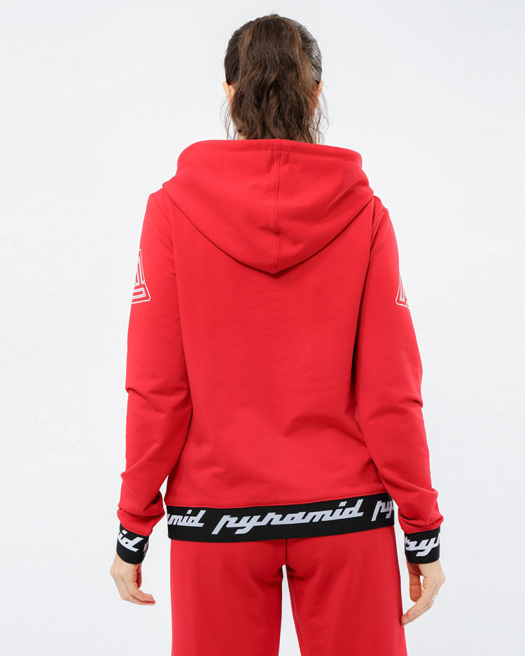 WOMEN CORE 3D RUBBER PATCH PULLOVER HODDY-COLOR: RED