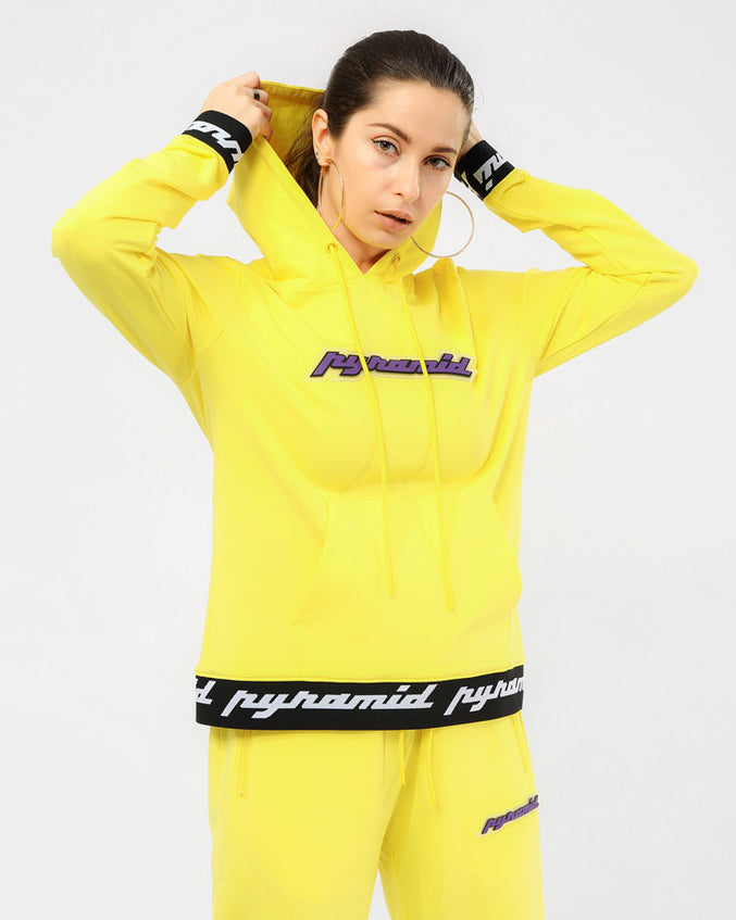 WOMEN CORE 3D RUBBER PATCH PULLOVER HODDY-COLOR: YELLOW