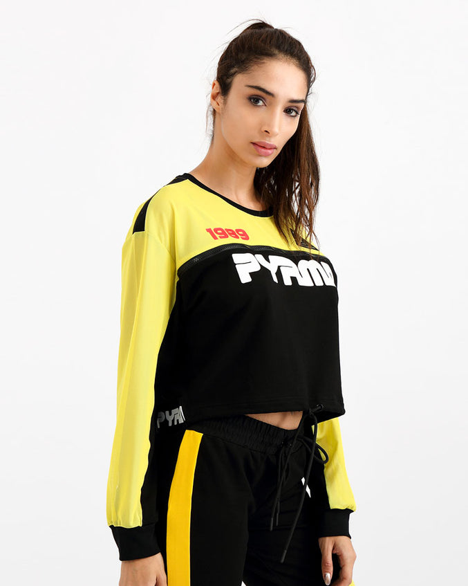 WOMENS PYRMD 1989 LS CROP TOP-COLOR: BLACK