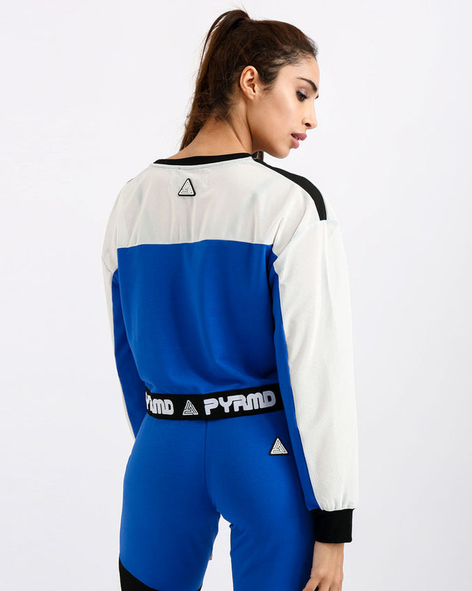 WOMENS PYRMD 1989 LS CROP TOP-COLOR: BLUE