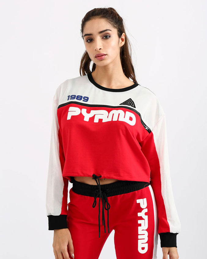 WOMENS PYRMD 1989 LS CROP TOP-COLOR: RED